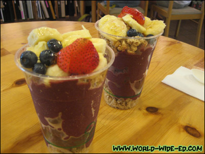 Açai Bowl - Organic Açai topped with strawberries, bananas, blueberries, organic granola, and drizzled with a hint of honey - $6.25