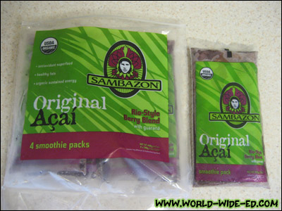 Frozen Açai pack from your local health food store