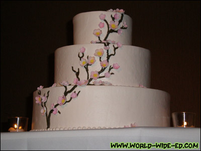 Here's our cherry blossom themed wedding cake