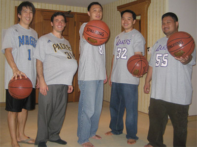 Me, Bari, Grant, Kelvin and Tommy in our customized NBA Tees.