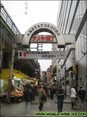 Ameyayokocho, also known as Ameyoko, in Ueno