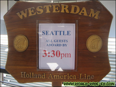 Sign for Holland America Line's ms Westerdam (7 Day Alaskan Explorer)