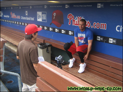 The author and Shane Victorino