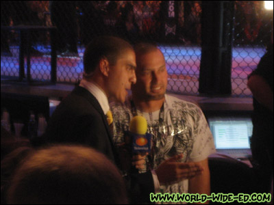 Shane doing an interview with a reporter at UFC 101