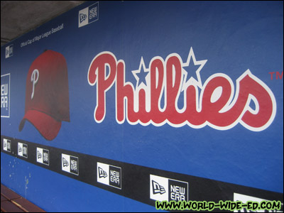 Phillies logo in the Phillies dugout