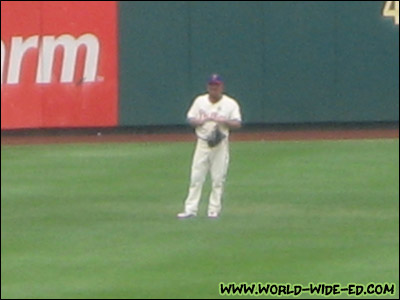 Shane manning the outfield (I know... kinda blurry!)