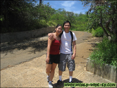 Noele and Mark, the happy couple, on the way to the Koko Head Crater trailhead