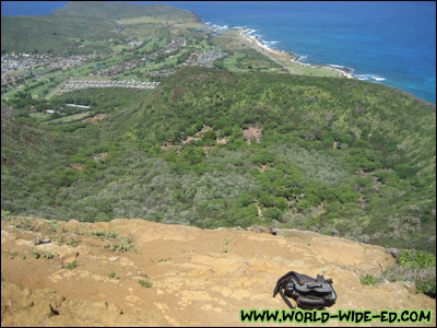 View from the top of Koko Head, overlooking part of Sandy Beach and the Hawaii Kai Golf Course.