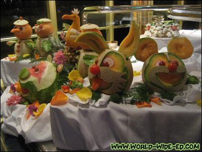Fruit carvings at the Dessert Extravaganza