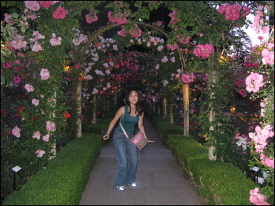 Wifey having fun at the Rose Garden