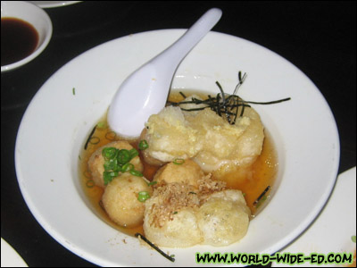 Mochi Sato Age - fried taro potato & mochi in tempura sauce - $7