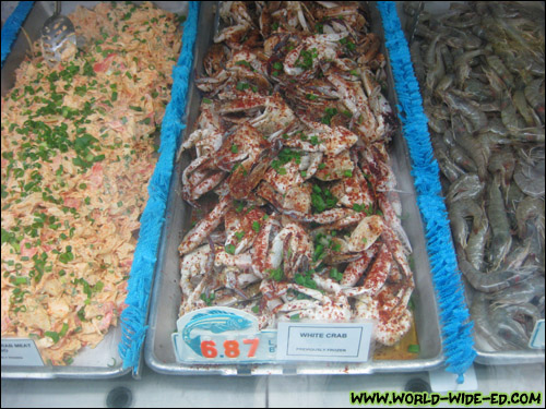 Imitation Crab Meat Masago ($4.37/lb), White Crab previously frozen ($6.87/lb), and 50/60 shrimp [Photo Credit: Arthur Betts]