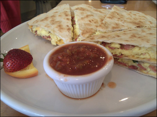 Breakfast Quesadilla - Two flour tortillas grilled with cheese, 2 scrambled eggs and meat of choice. Served with salsa. ($9.50) (Photo Courtesy: Rick Nakama)