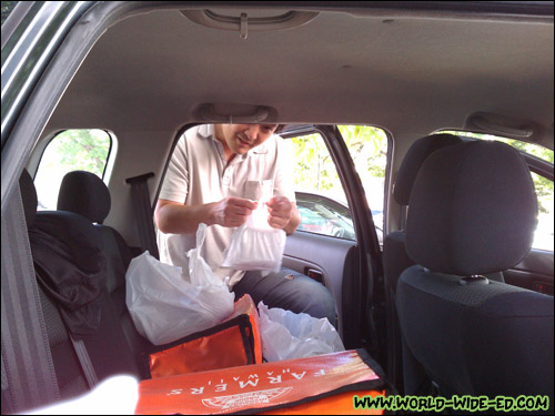 Rick unloading two meals for this particular stop