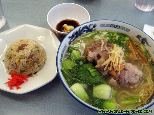 Oxtail Ramen Combo (Shio flavor, small fried rice, 3 pcs gyoza) - $17.20