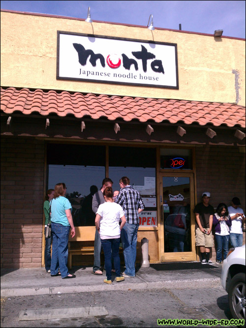Outside Monta Japanese Noodle House. Expect to wait in a line.