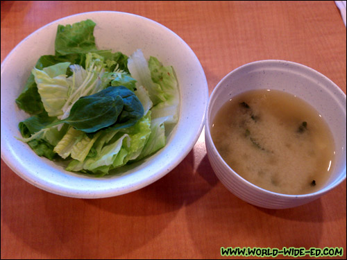 Salad and miso soup from Combination Dinner