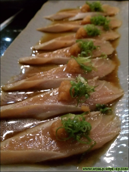 Seared Canadian Tombo (albacore tuna) with ponzu