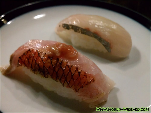 Shimaaji from Shikoku (background) & Golden Eye Snapper with Shiokara on top (foreground)