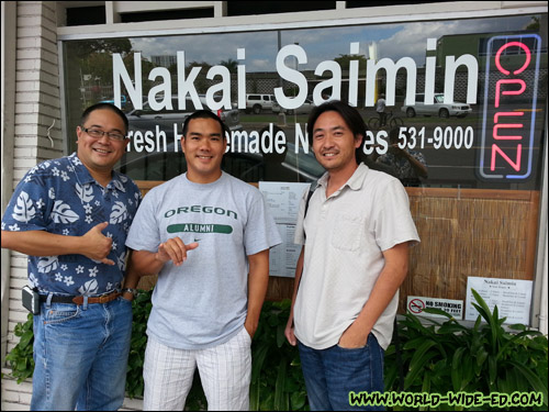 Russ Sumida, Brandon Suyeoka and Rick Nakama outside Nakai Saimin