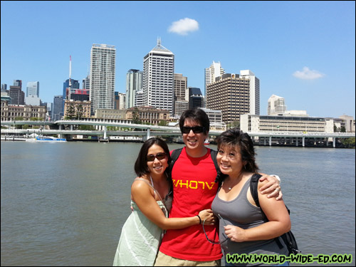 Cat, me and Melissa posing along the Brisbane River