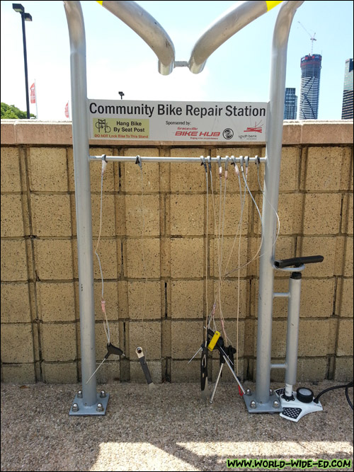 Community Bike Repair Station along the Clem Jones Promenade