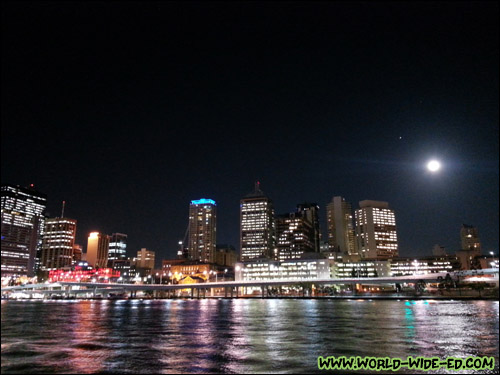 Moonlit Brisbane skyline from South Bank