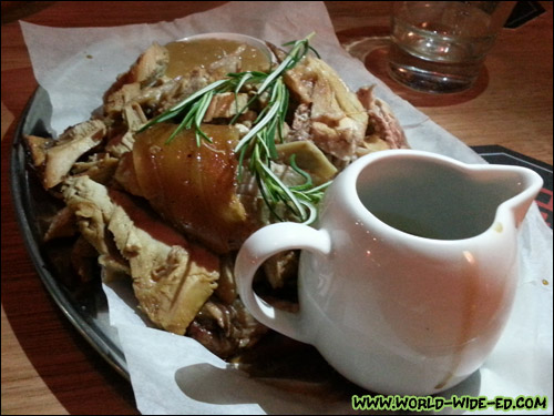 250g of Roast Pork carved from the whole pig w/crackling ($29)