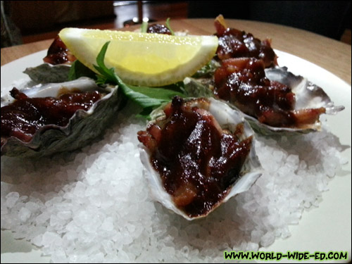 Oysters Kirkpatrick (6 for $24). Raw oysters, barbecue sauce and bacon. 'Nuff said.