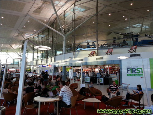 Lounge areas (with FREE public WiFi! - which is hard to come by in Brisbane) outside the gates.