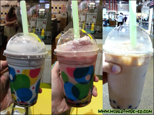 Blueberry, Strawberry and Milk Tea Bubble drinks from Bee's