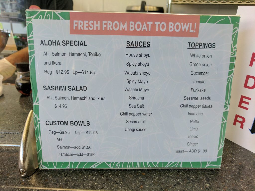 The options at Aloha Poke Shop